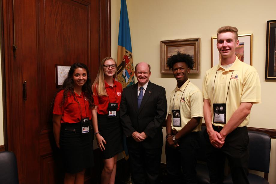 2018-07-26 Sen. Coons meets with ALA Girls and Boys Nation Delawareans